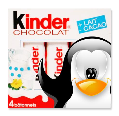 Glassy l'imposteur sur un paquet de Kinder Chocolat